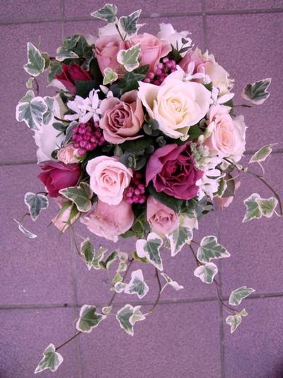 名古屋市千種区の花屋グラッシーのオーバルブーケO49